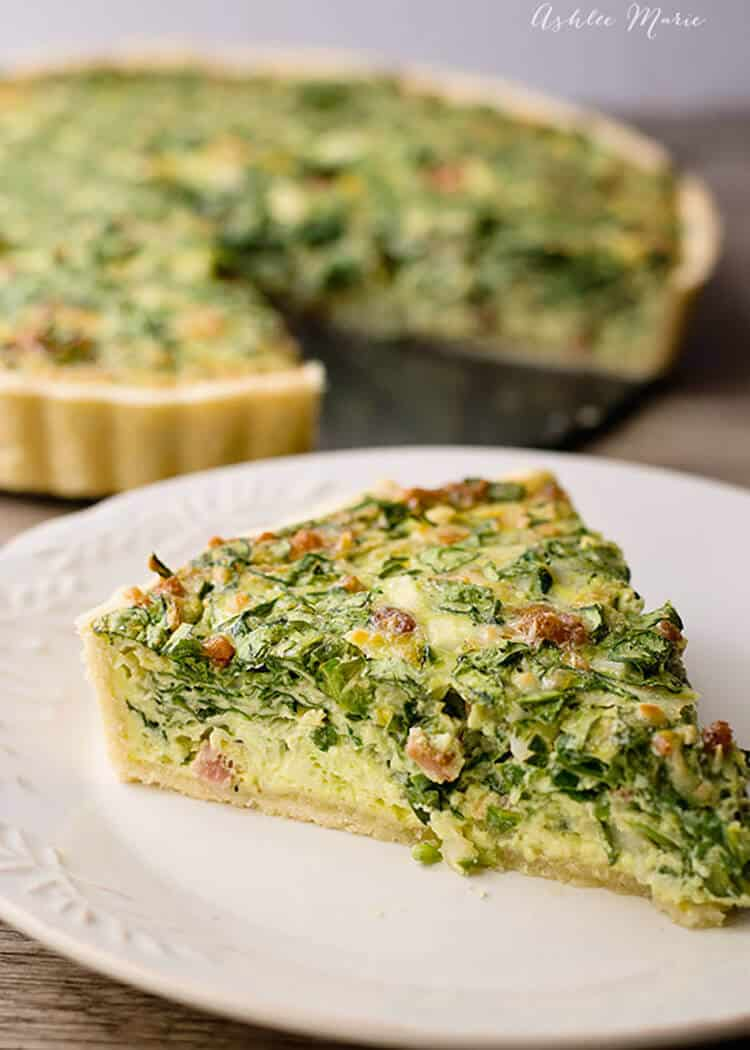 Spinach artichoke quiche ashlee marie real fun with real food bacon cheese and artichoke hearts bring out an amazing flavor to this spinach quiche recipe forumfinder