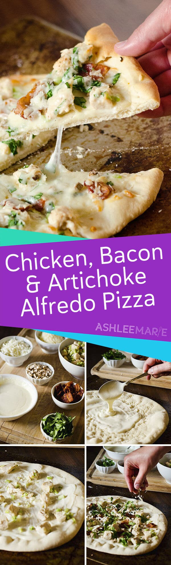 chicken bacon and artichoke alfredo pizza