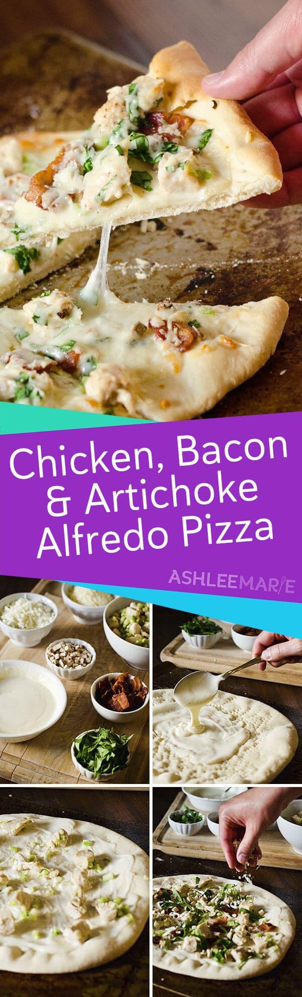 chicken bacon and artichoke alfredo pizza