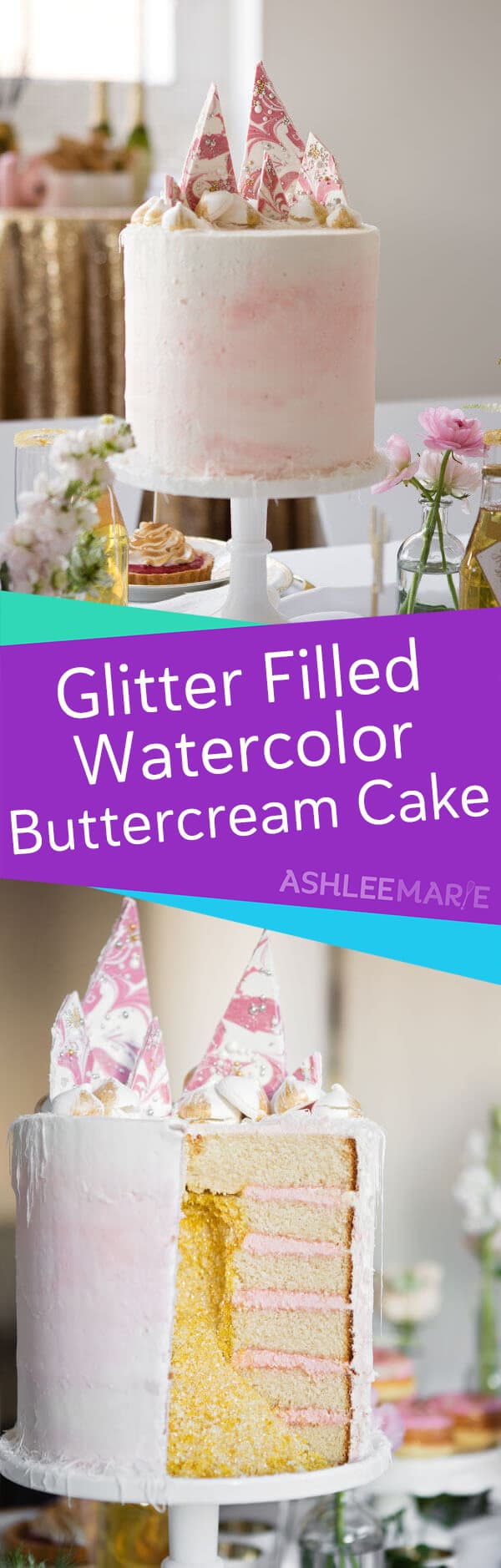 edible glitter filled cake video tutorial