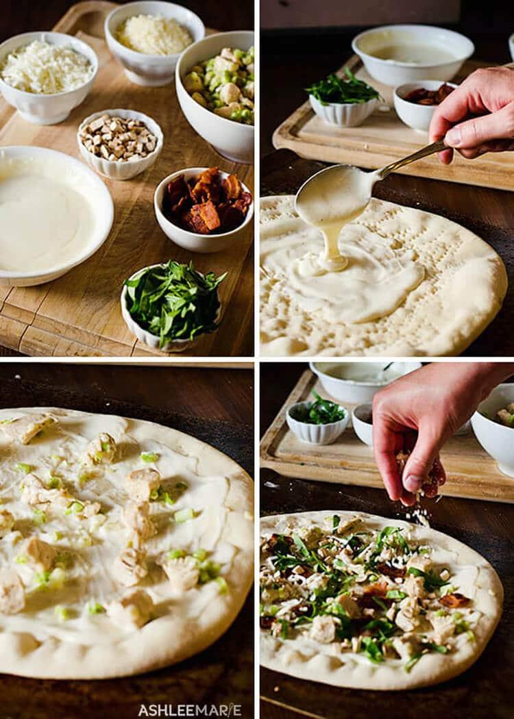 making chicken alfredo pizza