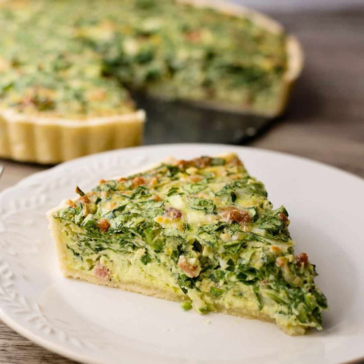 Bacon Spinach Artichoke Quiche Recipe with Video