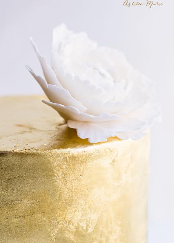 gumpaste peony tutorial gold leaf cake