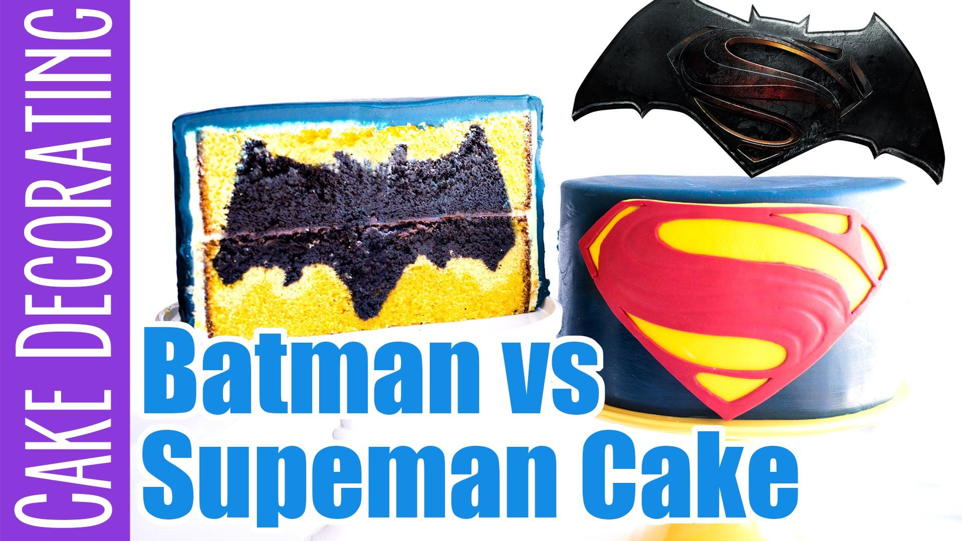Batman Vs Superman Design Inside Cake Video Tutorial Ashlee