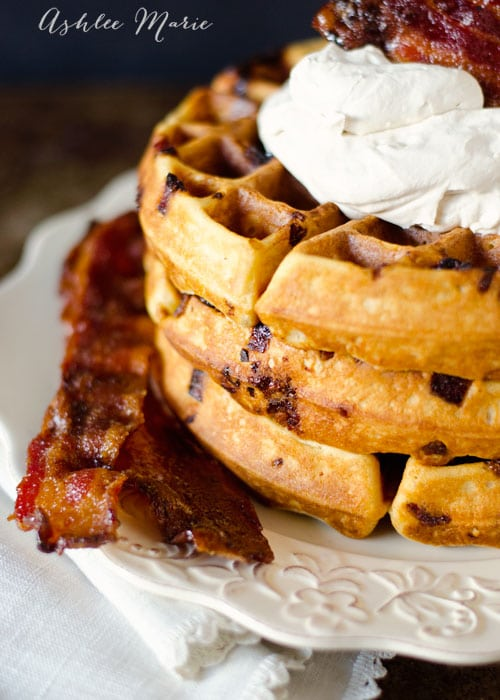 it doesn't get much better than waffles, add some candied bacon and maple whipped cream and you have something divine