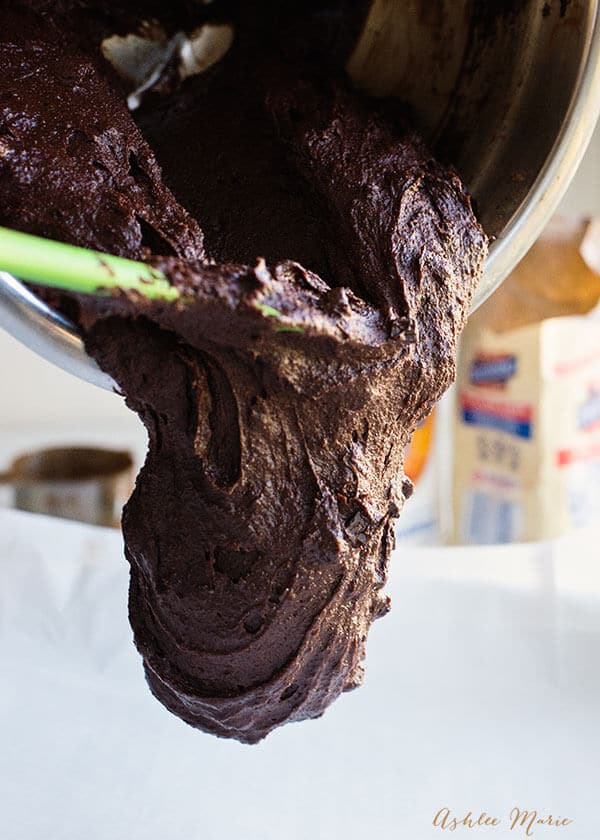 rich dense chocolate brownie batter with chocolate chunks