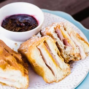 Homemade deep-fried monte cristo sandwich