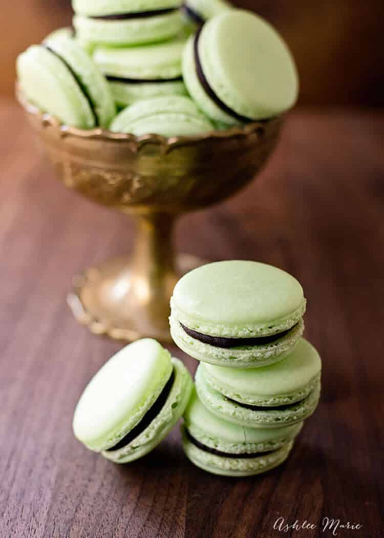 Chocolate Mint Macarons | Ashlee Marie