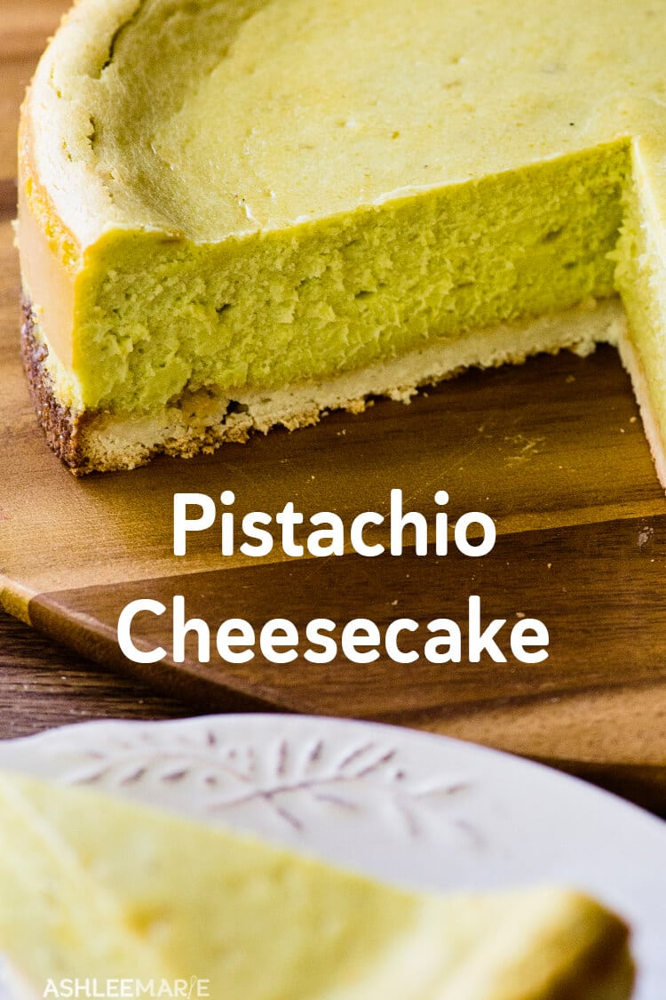 Pistachio Cheesecake with Coconut Macaroon Crust - Ashlee Marie