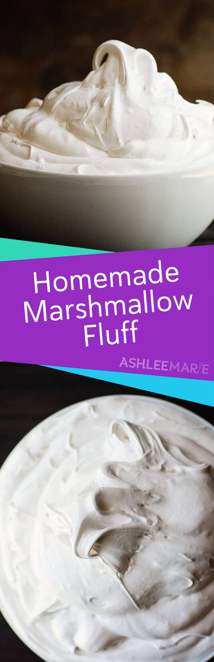 A recipe and video tutorial for making your own Homemade Marshmallow Fluff. Perfect for dipping, topping, frosting and more! | Ashlee Marie | Summer | Marshmallow Fluff | Marshmallow | Dessert | Frosting | #ashleemarie #marshmallowfluff #summer #dessert #marshmallow