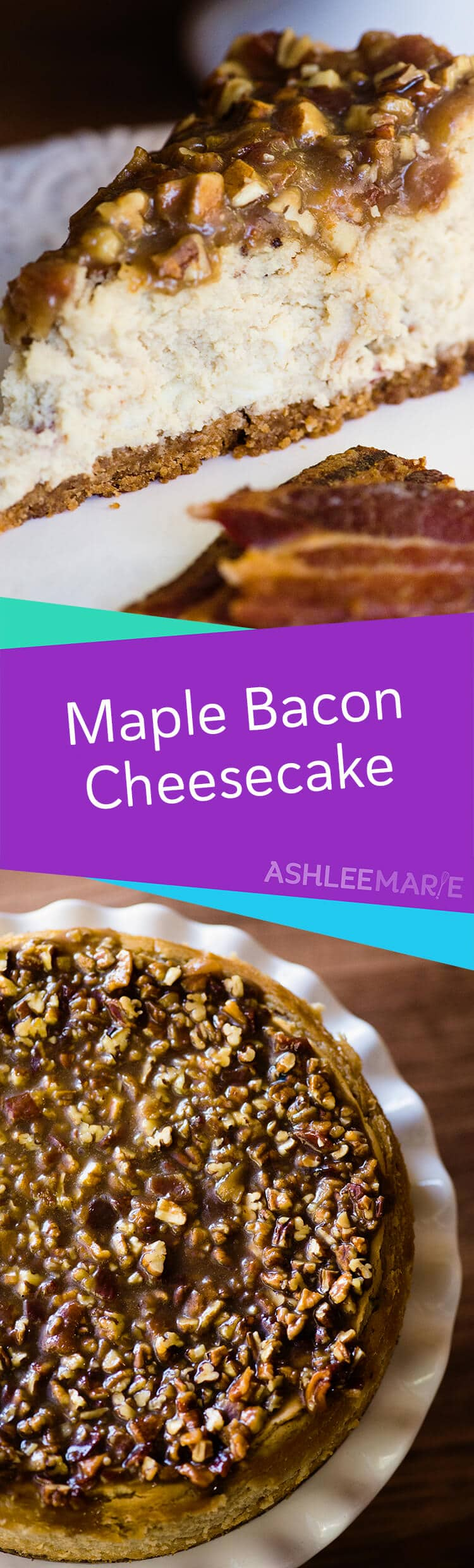This Maple Bacon Cheesecake Recipe is delicious and easy to make - with tips and tricks for the perfect cheesecake and a video tutorial | Ashlee Marie | Summer | Cheesecake | Bacon | Maple | Dessert | #ashleemarie #cheesecake #dessert #bacon