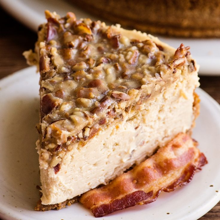 Maple Bacon Cheesecake recipe with a video tutorial