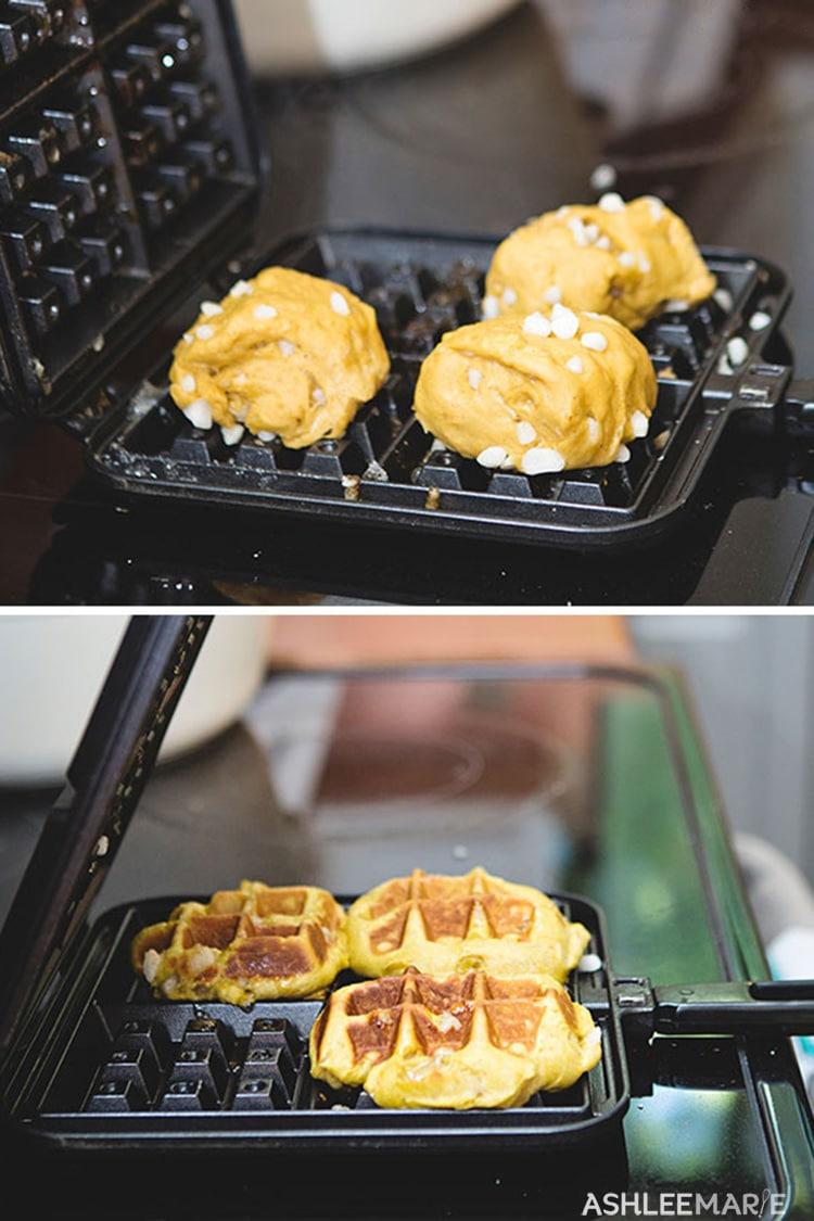 homemade pumpkin liege waffle