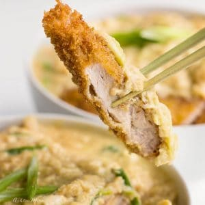japanese dinner - katsudon - breaded pork cutlet with sweet onion sauce