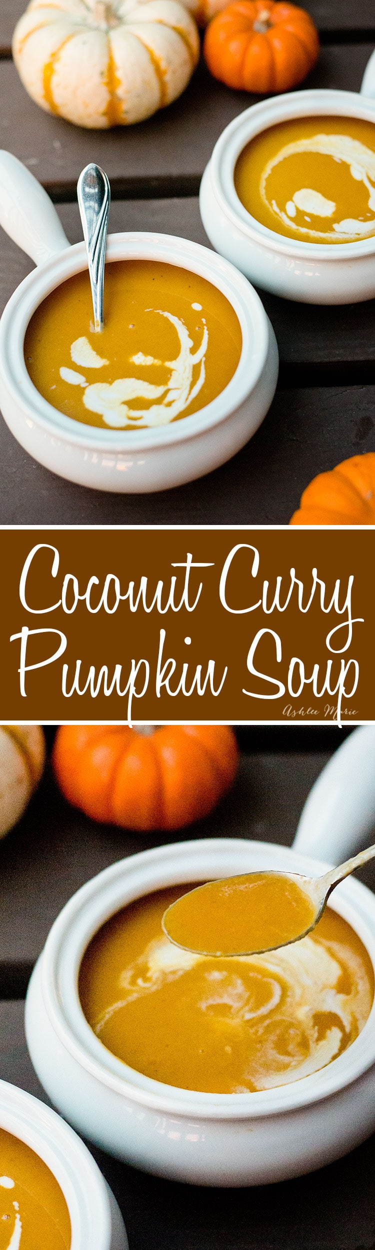 this pumpkin soup is easy to make and has some great flavors with the coconut milk and curry. A great start to any fall meal!