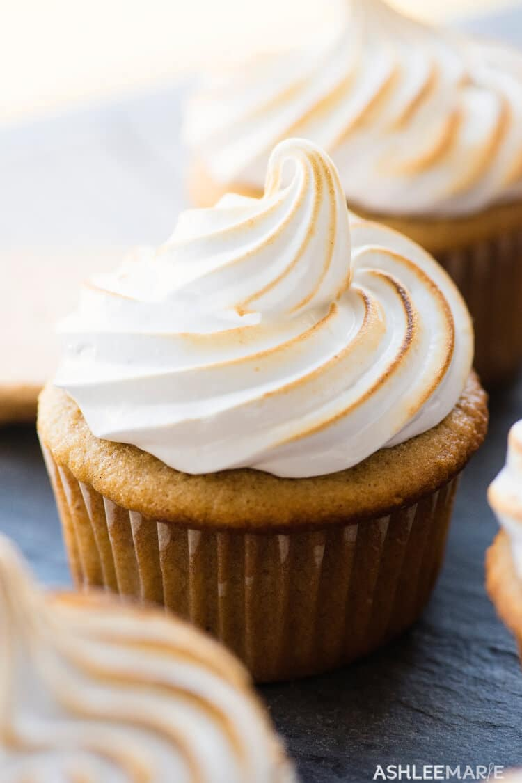 S'mores cupcake - graham cracker cupcake filled with chocolate and marshmallow frosting