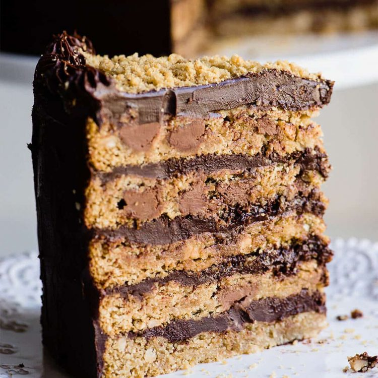 chocolate chip cookie cake with ganache