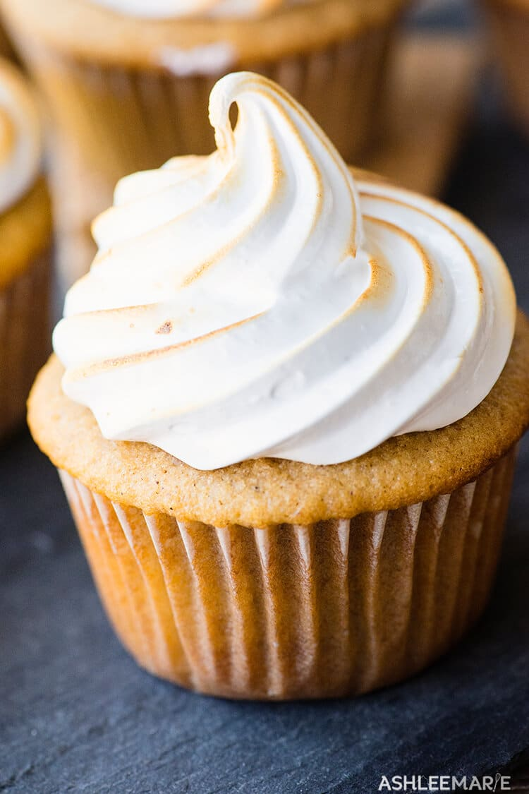 marshmallow frosting graham cracker cupcake filled with soft chocolate