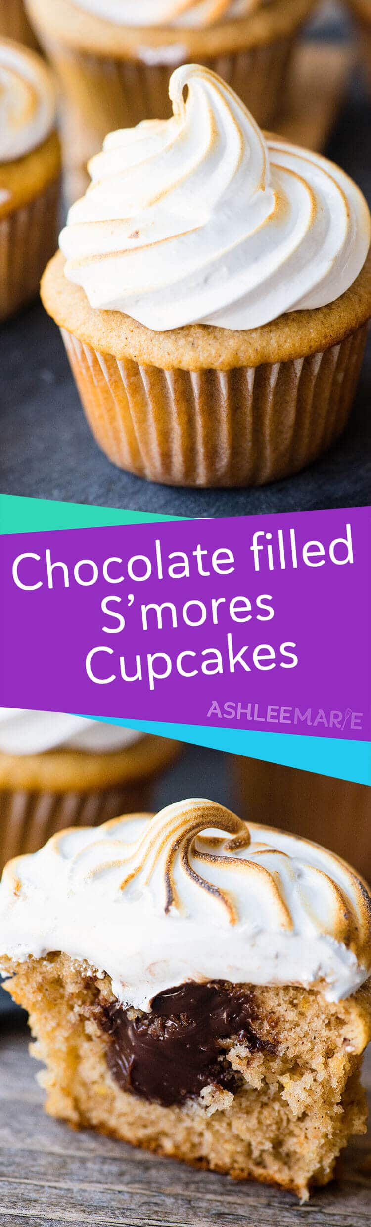 s'mores cupcake recipe - ganache filled graham cracker cupcakes with marshmallow frosting