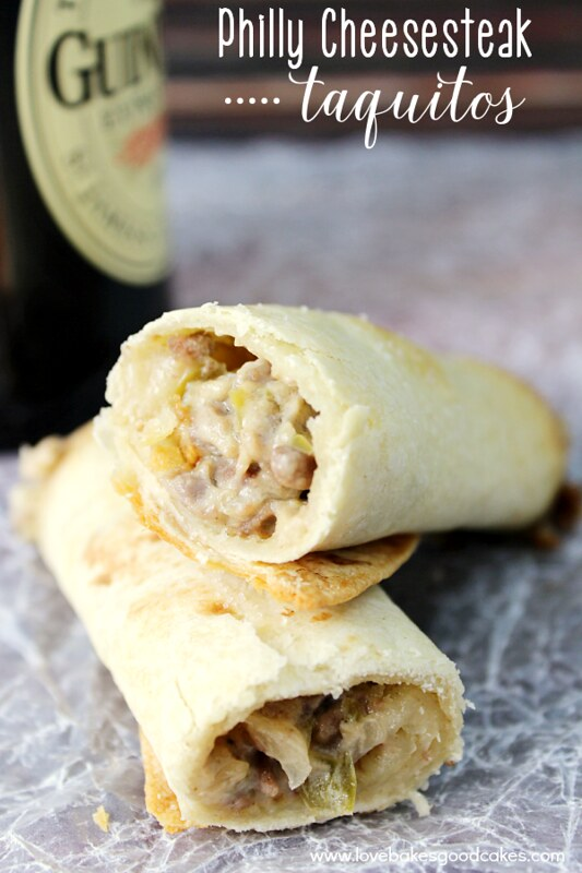 Philly Cheesesteak Taquitos {Love Bakes Good Cakes}