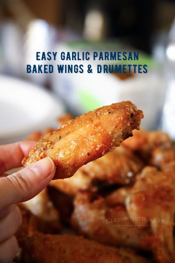 Garlic Parmesan Baked Wings & Drumettes {Kleinworth & Co}
