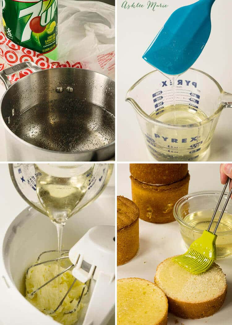 boiling down soda will create a strongly flavored syrup - that's great for brushing on the cake or flavoring the frosting