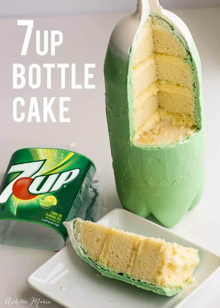 the inside of this chocolate soda bottle shell is filled with 7UP cake, 7UP mousse and 7UP frosting!