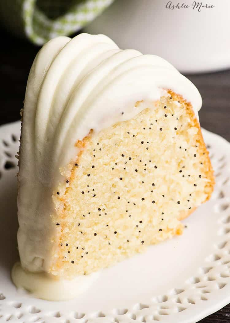 almond poppy seed bundt cake with cream cheese frosting - recipe and video tutorial