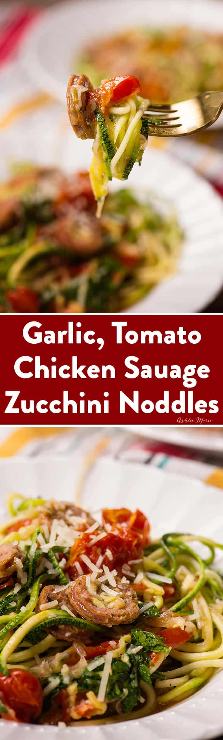 italian chicken sausage zucchini noddle one pot meal
