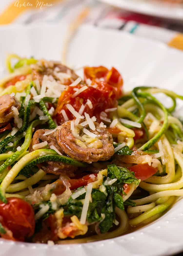 italian sausage one pot zucchini noodle dinner