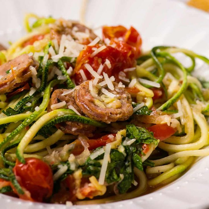 Garlic, Tomato and Chicken Sausage Zucchini noodles