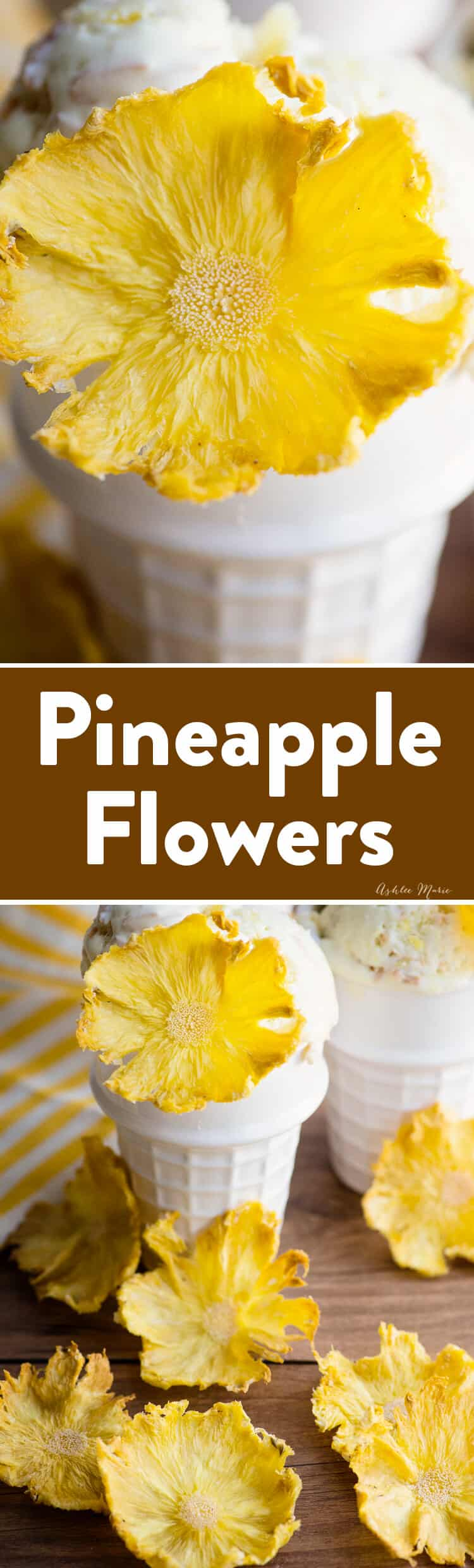 Easy to make dried pineapple flowers
