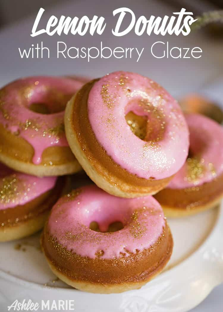 baked lemon donut recipe with sweet raspberry glaze