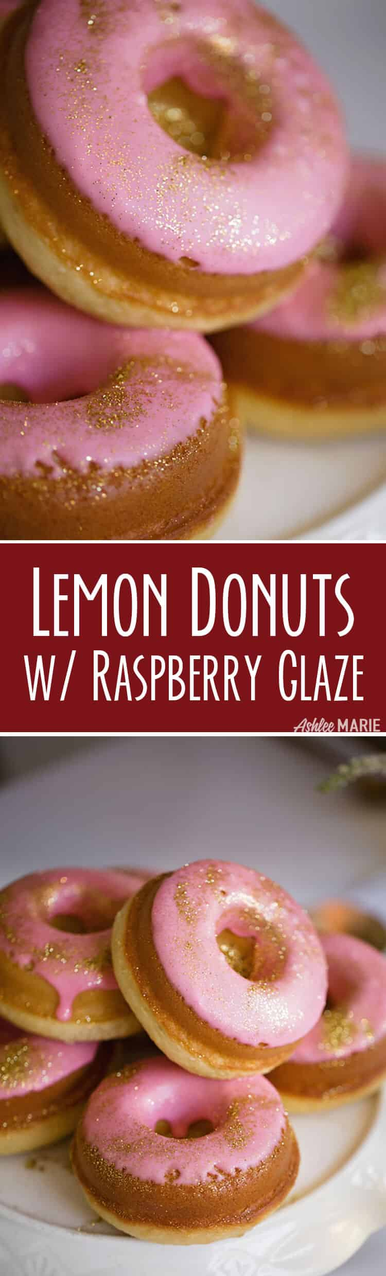easy to make baked lemon cake donut recipe with a delicious raspberry glaze