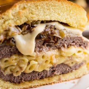 macaroni and cheese stuffed cheeseburger