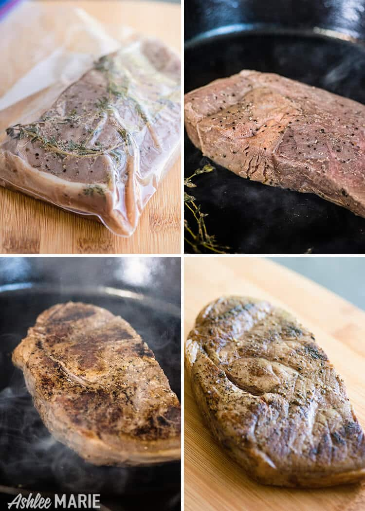 quckly sear your sous vide cooked steak for a beautiful crust