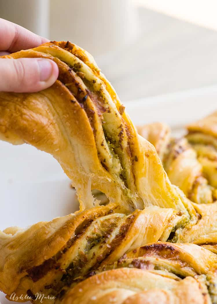 red and green pesto braided bread