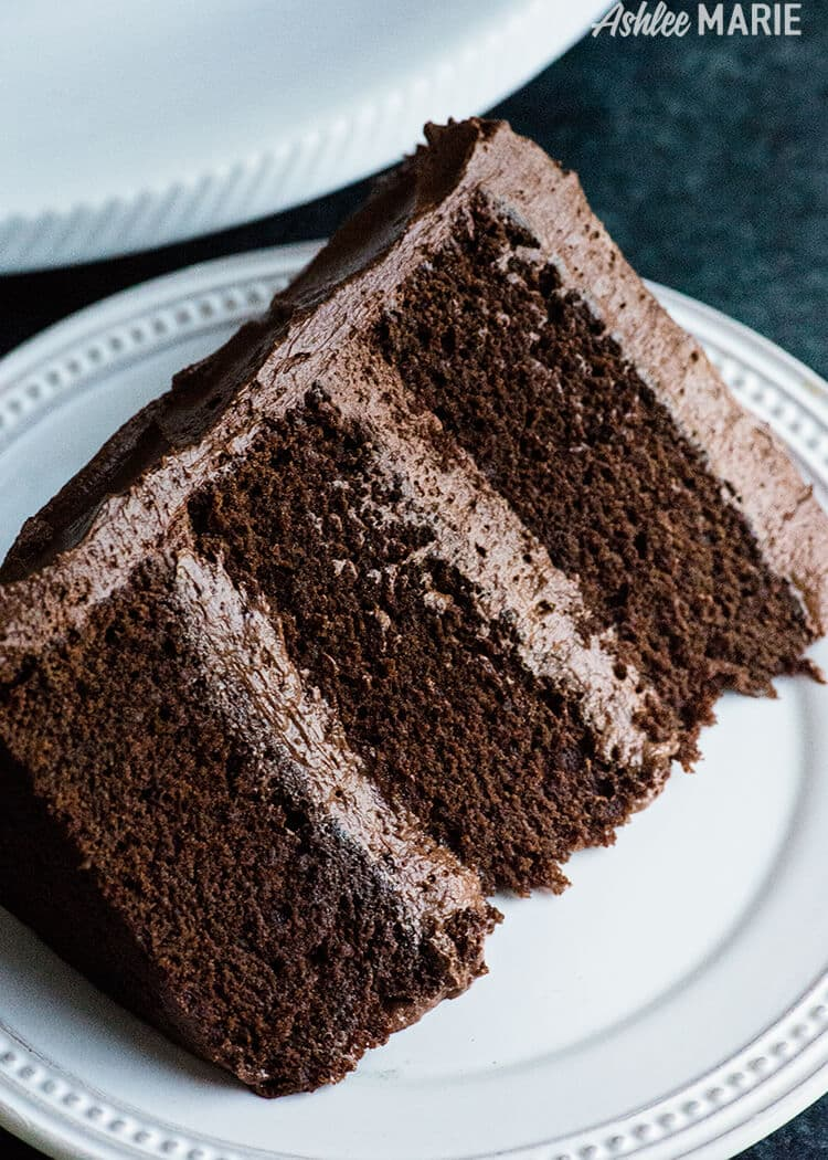 Perfect Chocolate Cake Recipe with Ganache Buttercream- rich, dense and delicious | Ashlee Marie | Summer | Dessert | Chocolate | Cake | Holiday | Party Food | #chocolatecake #bestchocolatecake #holidayrecipes #chocolateganache #frosting #ganachefrosting