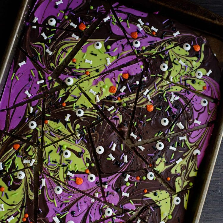 chocolate halloween bark with sprinkles