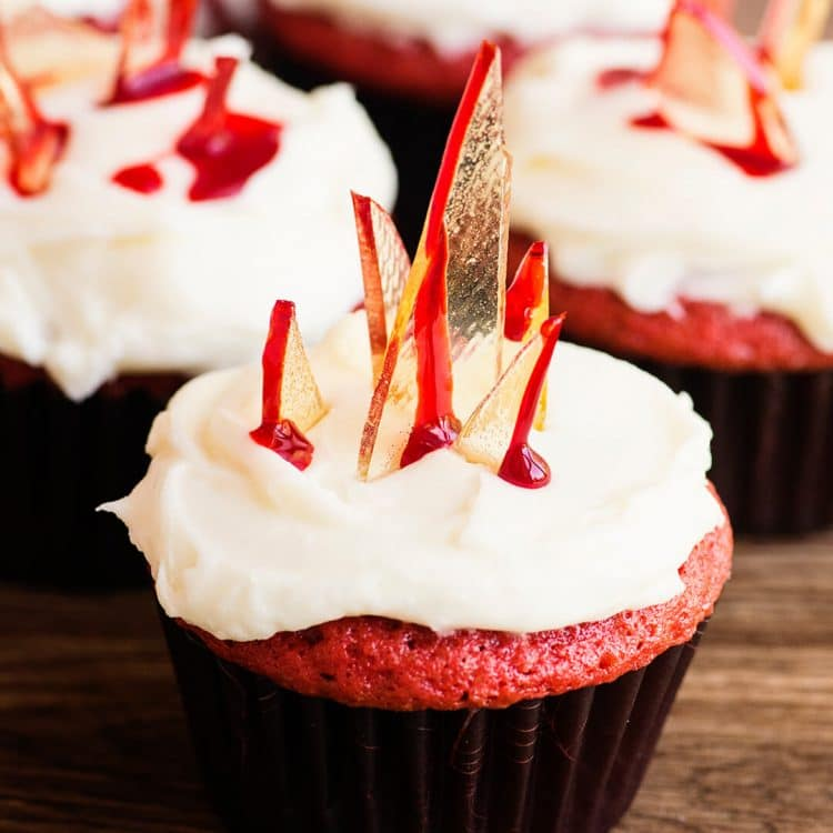 glass shards halloween red velvet cupcakes