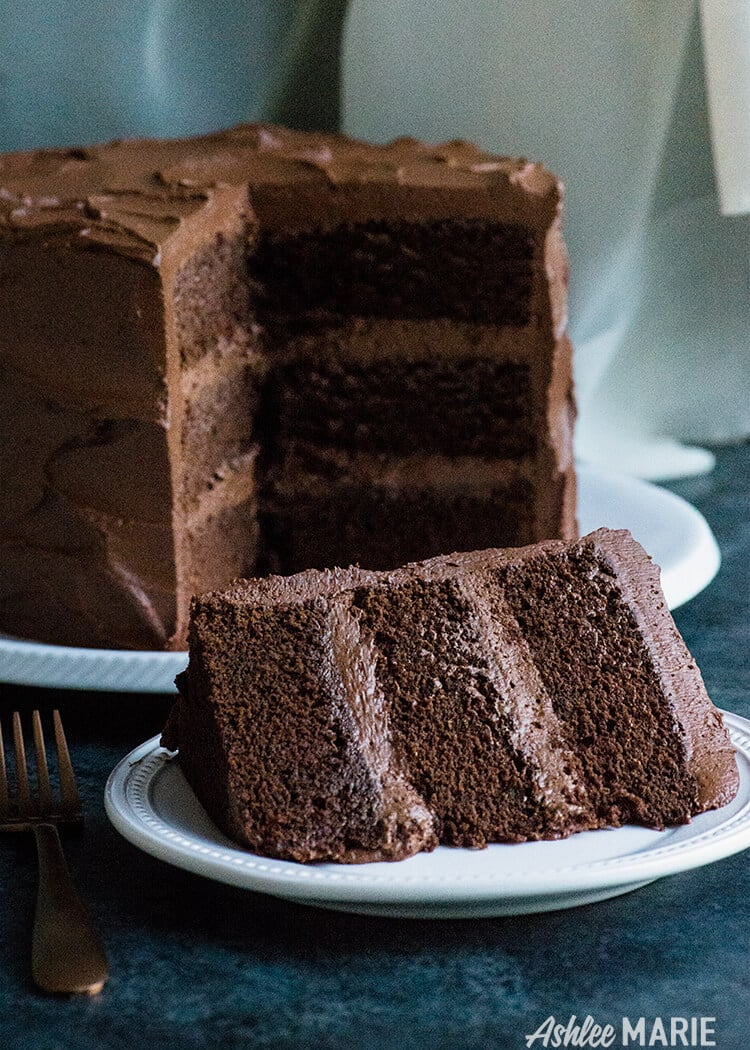 Chocolate Cake With Chocolate Ganache And Buttercream Frosting