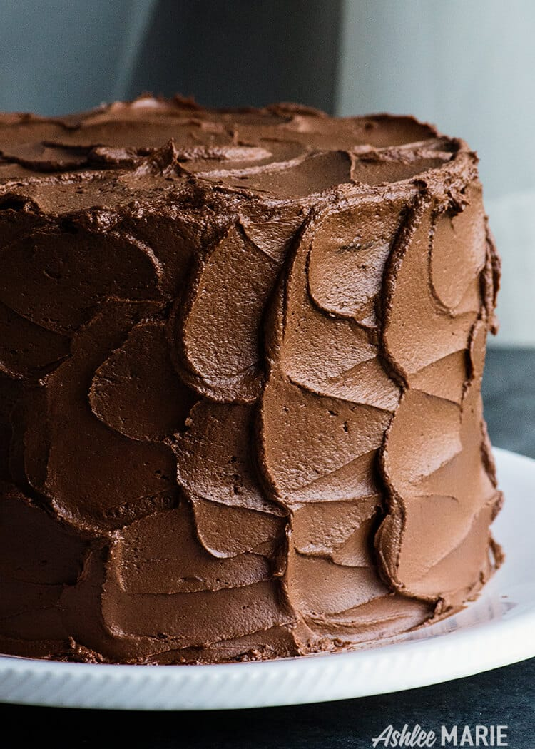 this chocolate ganache buttercream is the best of both worlds, rich flavor and smooth frosting