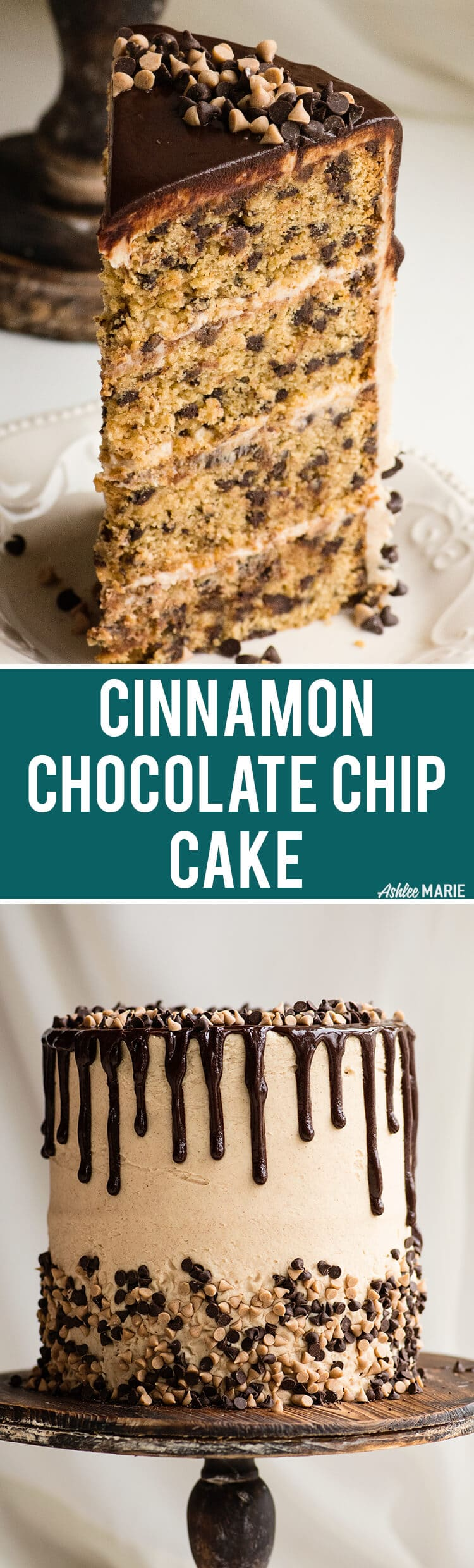 cinnamon chocolate chip cake recipe video with brown sugar cream cheese frosting