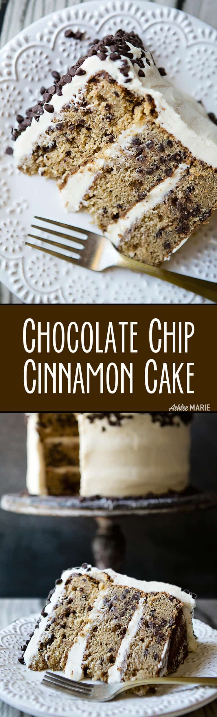 my favorite cake - cinnamon chocolate chip cake with brown sugar cream cheese frosting