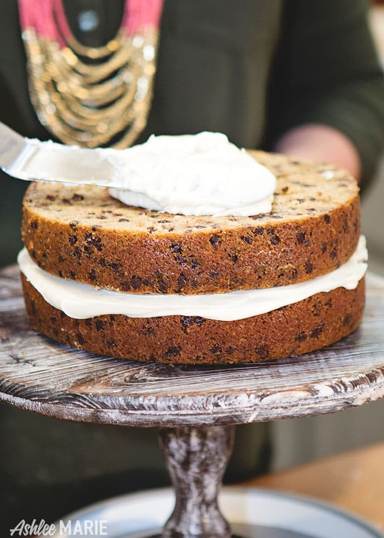 thick cake layers - cinnamon chocolate chip cake with brown sugar cream cheese frosting