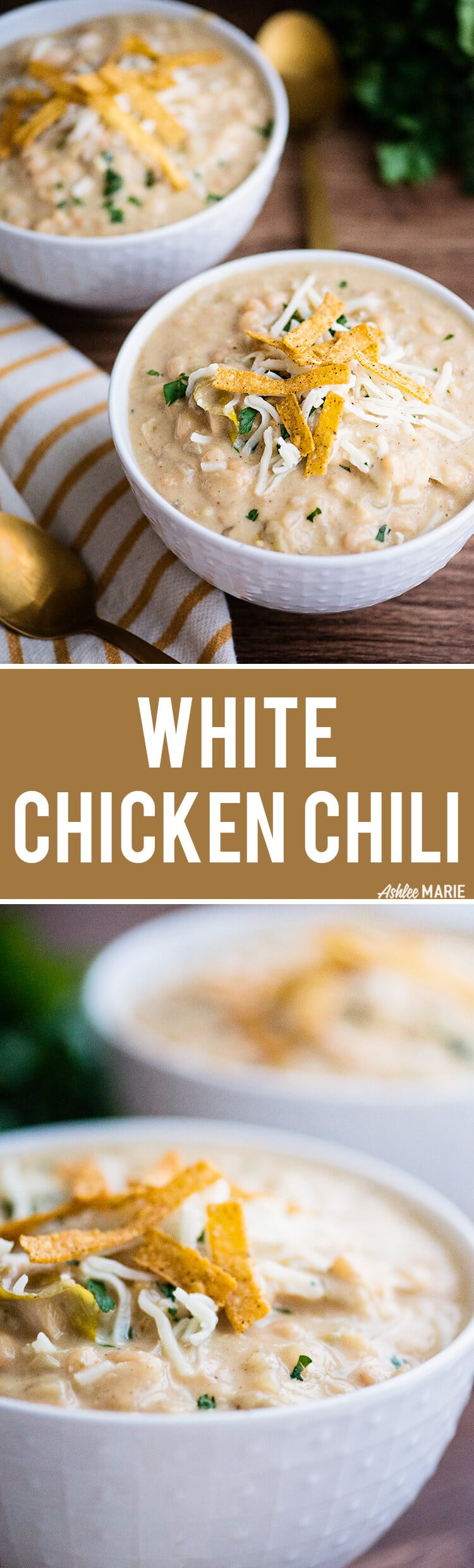 A creamy and spicy White Chicken Chili recipe with video | Ashlee Marie | Winter | Comfort Food | Chili | Soup | Chicken | #ashleemarie #comfortfood #chili #chicken #soup