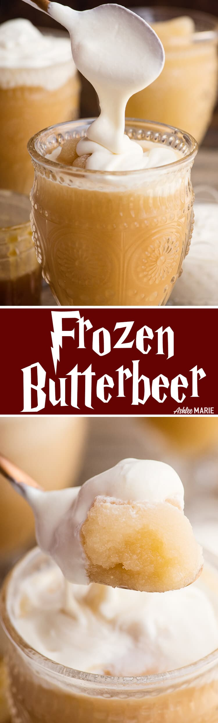 enjoy this harry potter favorite - homemade frozen butterbeer! recipe and video tutorial  | harry potter | butterbeer | universal studios | wizarding world of harry potter | frozen butterbeer | Ashlee Marie #butterbeer #harrypotter #universalstudios