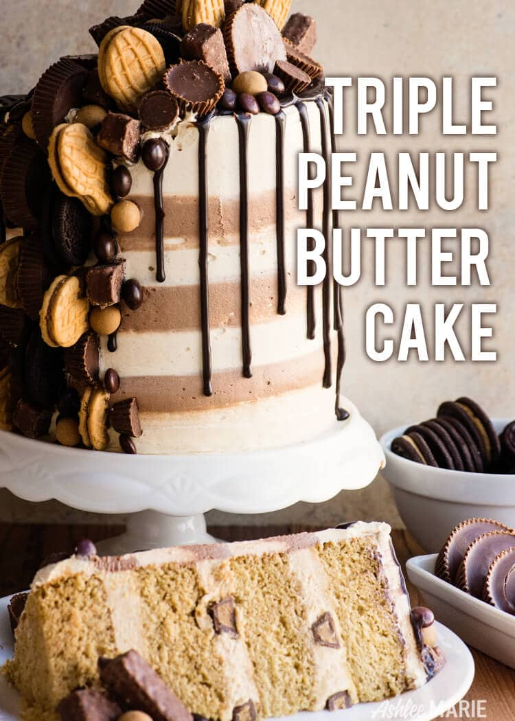 triple peanut butter cake recipe and video
