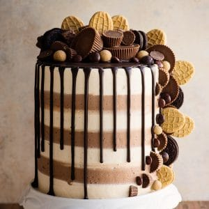triple peanut butter overload cake