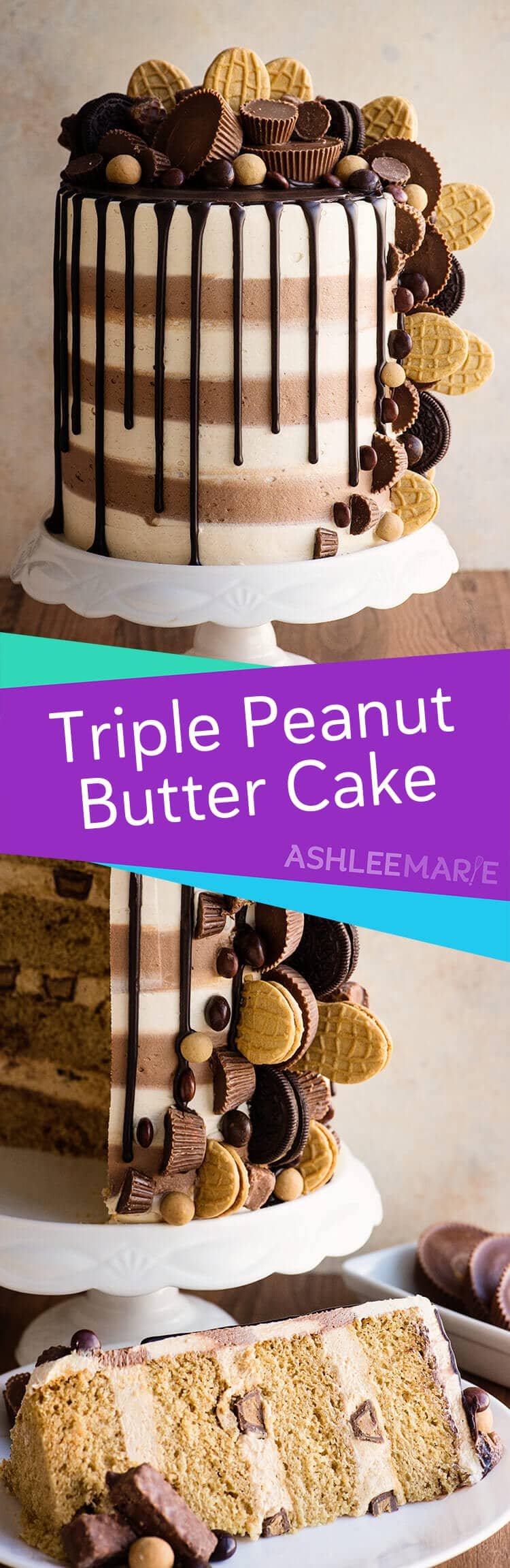 triple peanut butter cake recipes and video